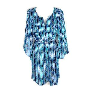 Laundry by Design blue tone printed belted dress